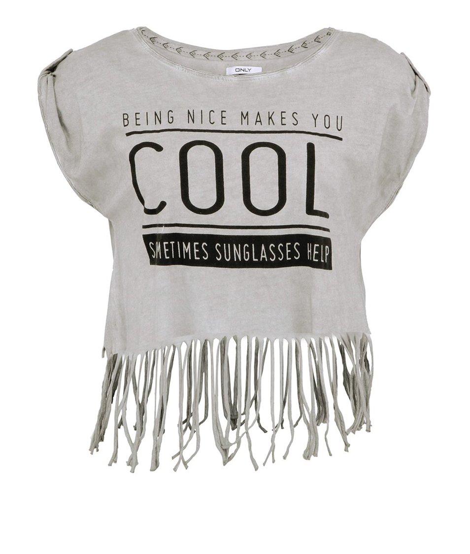 Světle šedé kratší tričko s třásněmi ONLY Fringe