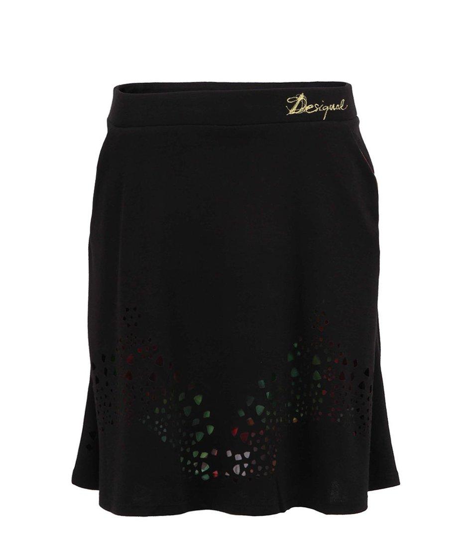 Černá sukně s barevnou spodničkou Desigual Karen
