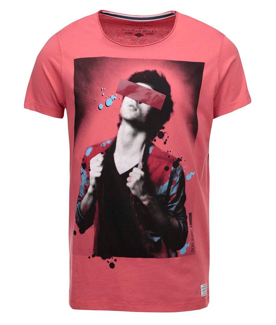 Červené pánské triko s potiskem Pepe Jeans Luke