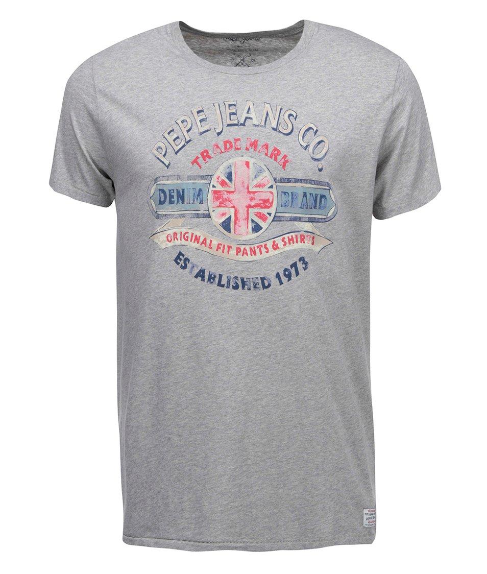 Šedé pánské triko s potiskem Pepe Jeans Michael