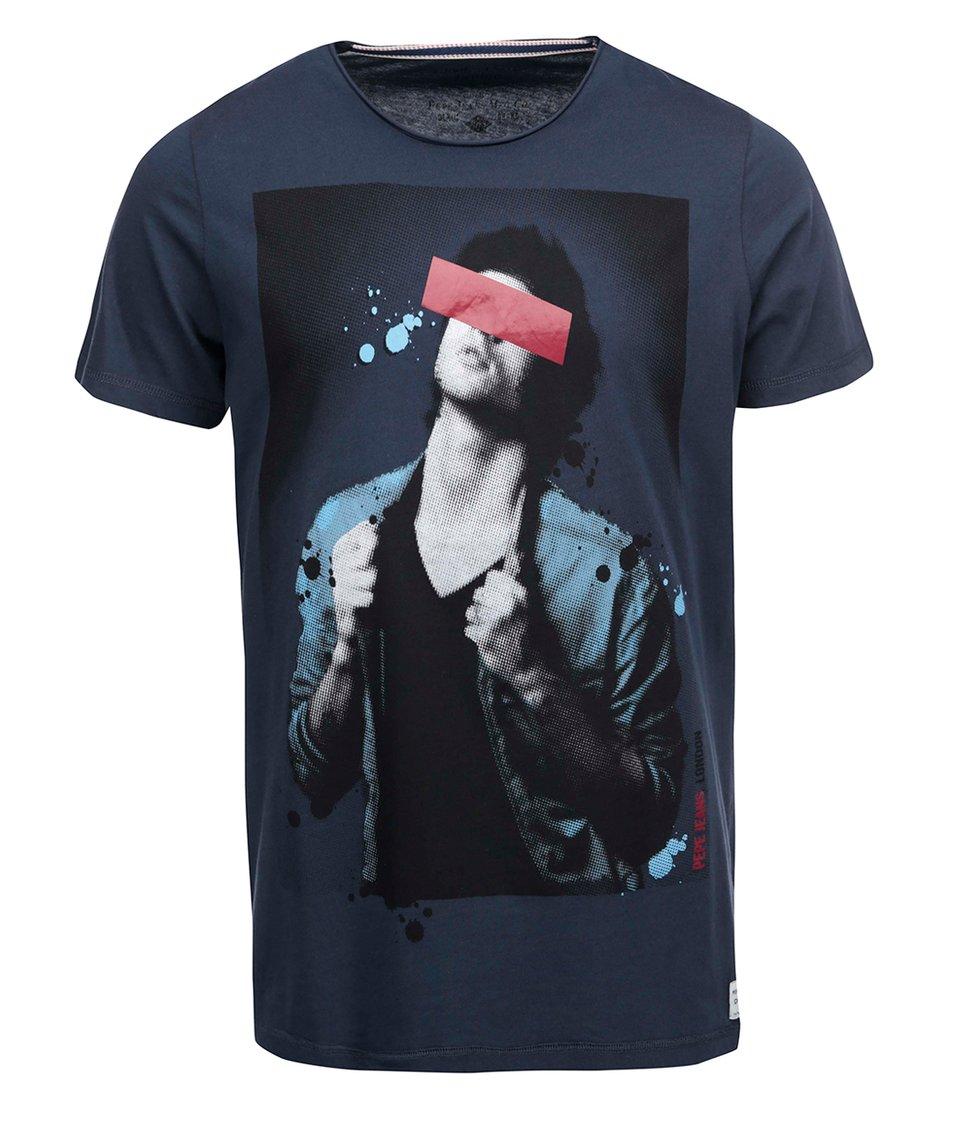Tmavě modré pánské triko s potiskem Pepe Jeans Luke