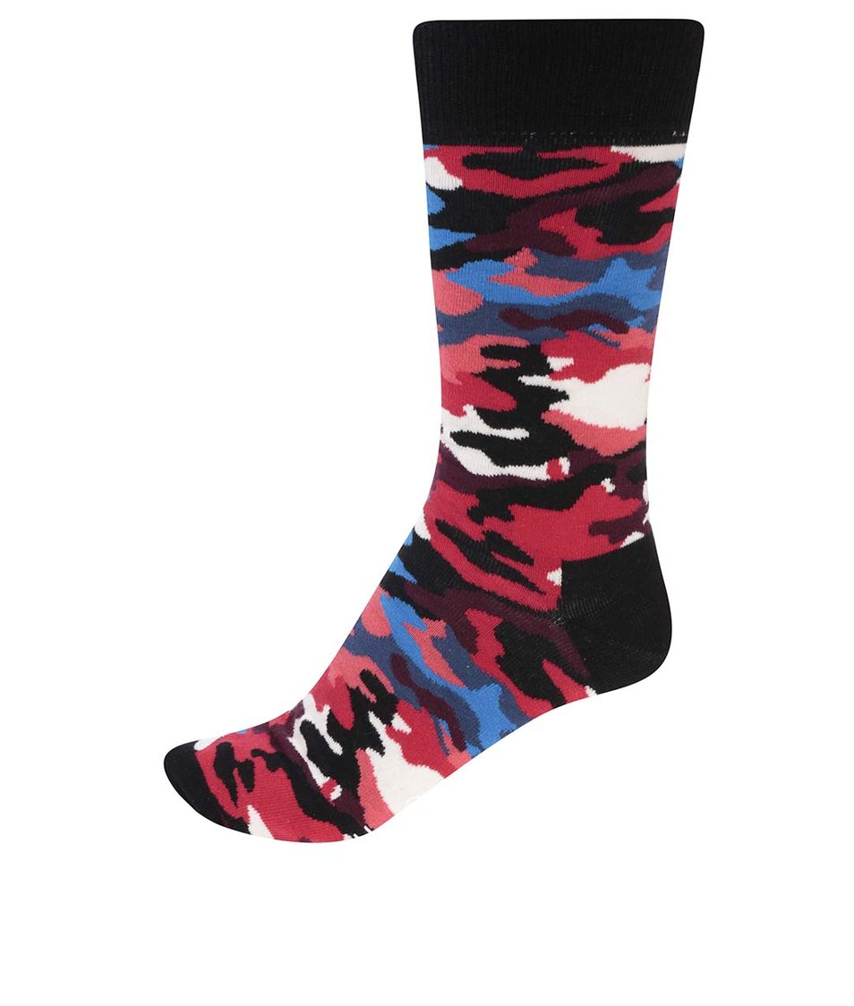 Černo-červené pánské maskáčové ponožky Happy Socks Bark
