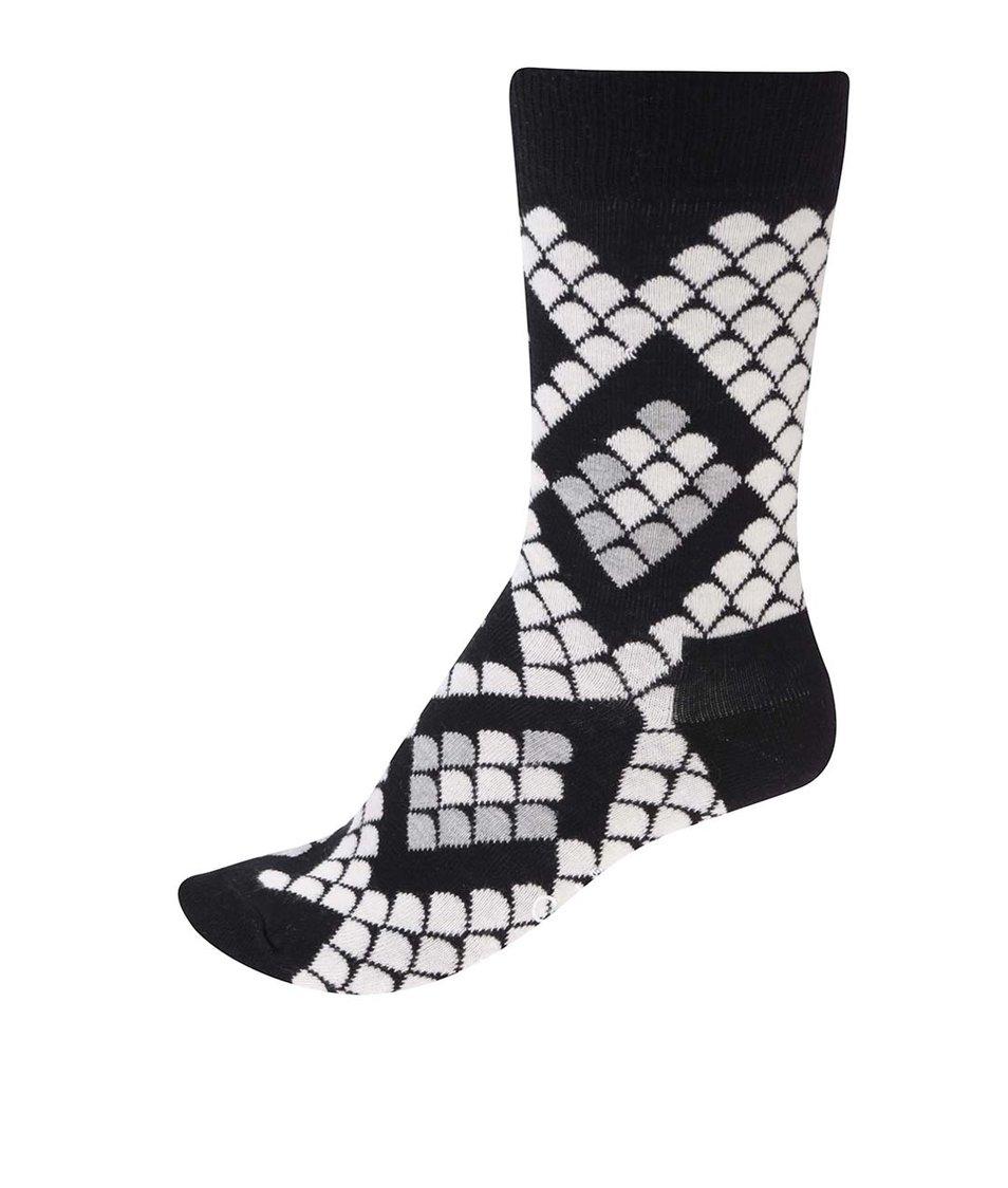 Černo-bílé unisex ponožky s hadím motivem Happy Socks Snake