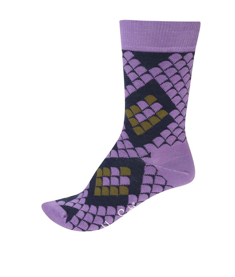 Fialové unisex ponožky s hadím motivem Happy Socks Snake