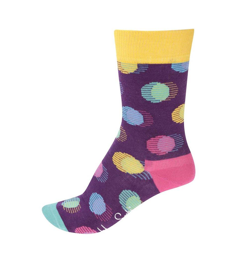 Žluto-fialové dámské ponožky s puntíky Happy Socks Out of Focus Dot