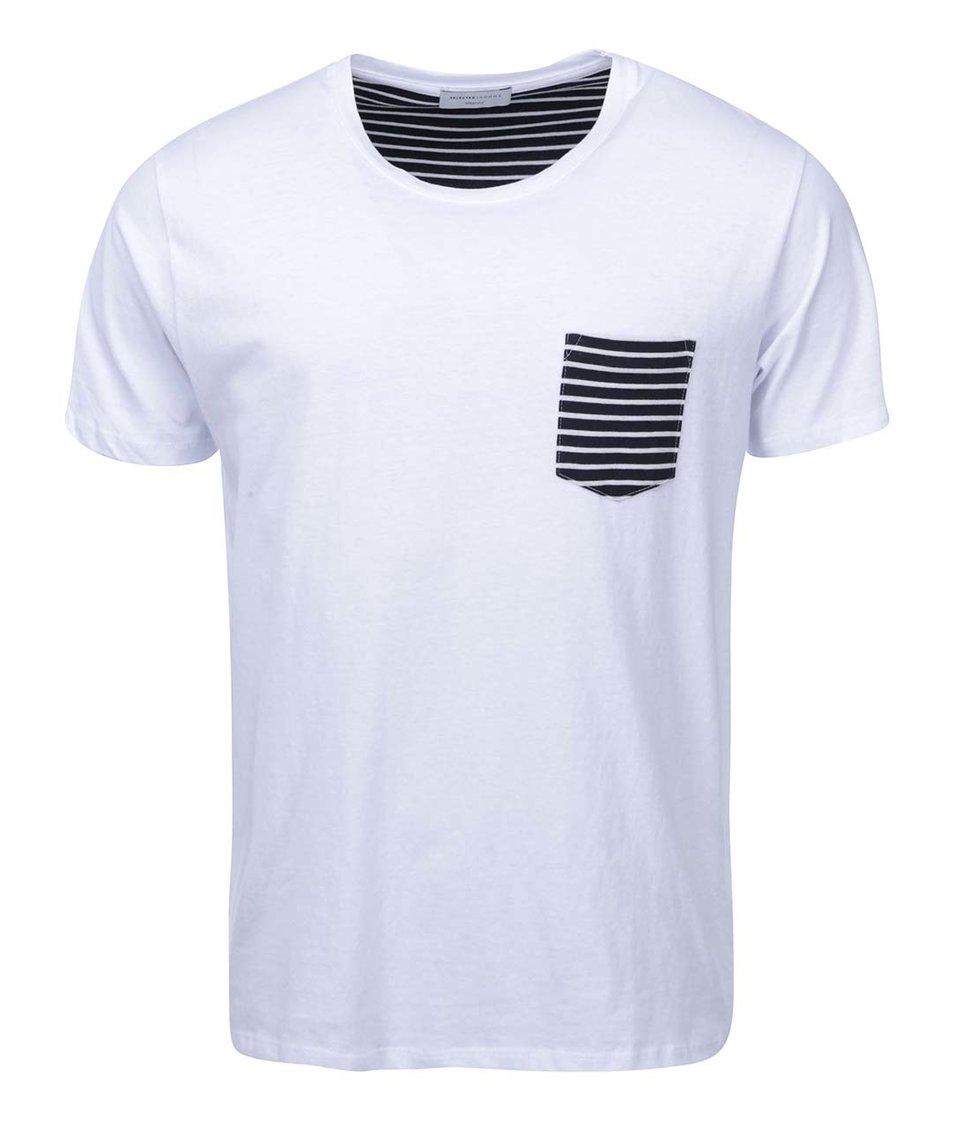 Bílé triko s kapsou Selected New Indiana