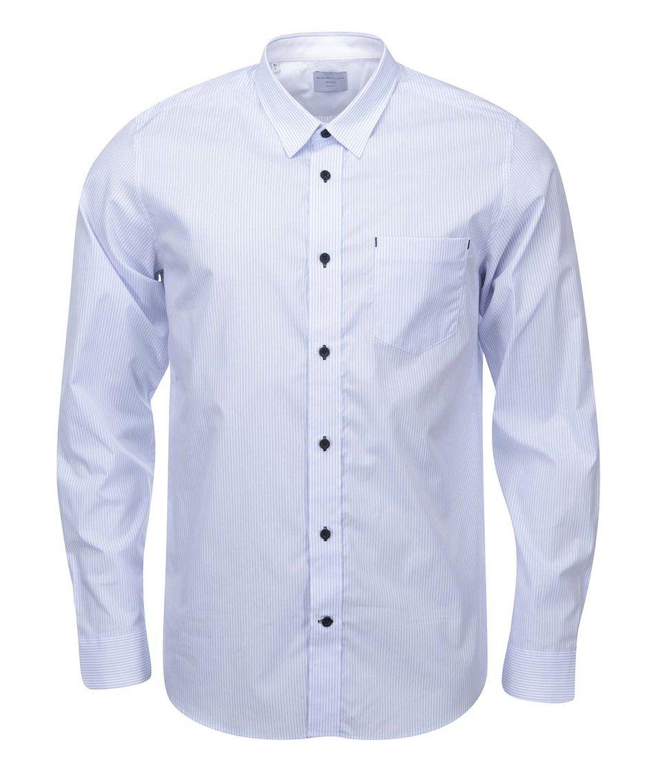 Světle modrá košile s bílými pruhy Selected Rick
