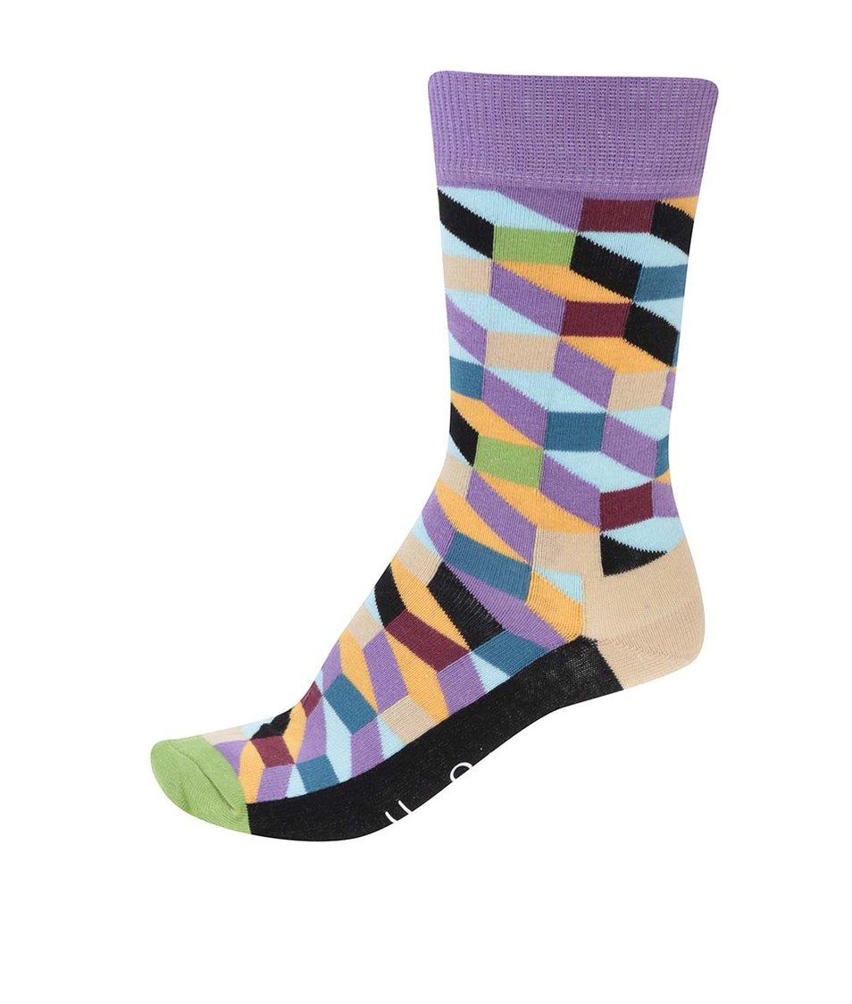 Barevné dámské vzorované ponožky Happy Socks Filled Optic