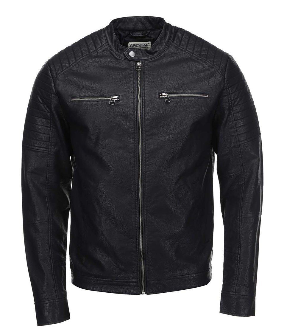 Černá koženková bunda Jack & Jones Tano