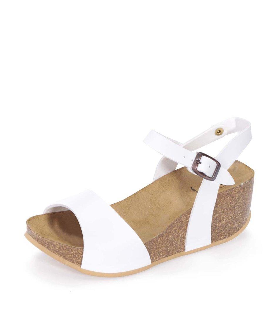 Bílé matné sandálky na klínku OJJU