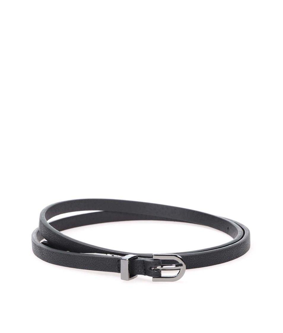 Černý úzký pásek Pieces Rosalyn