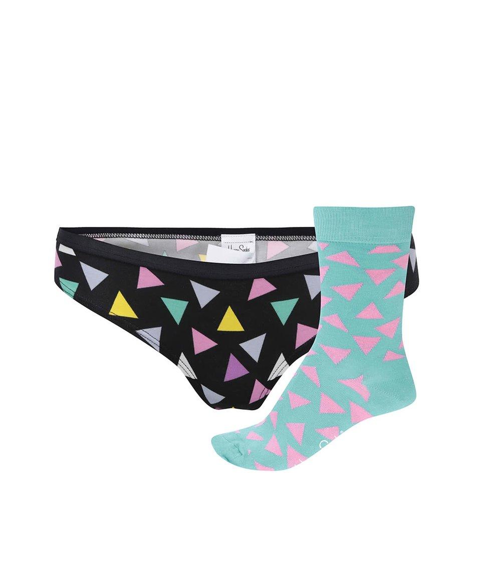 Set barevných dámských kalhotek a ponožek s trojúhelníky Happy Socks