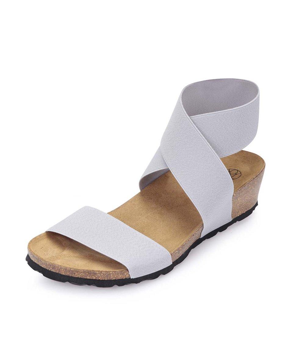 Světle šedé sandálky s překříženým páskem OJJU