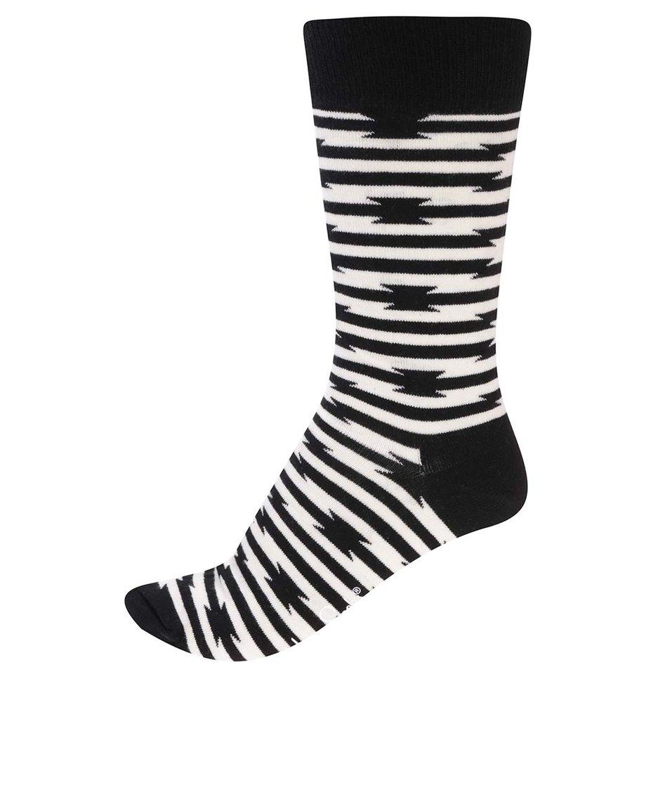 Krémovo-černé pánské ponožky Happy Socks Barb Wire