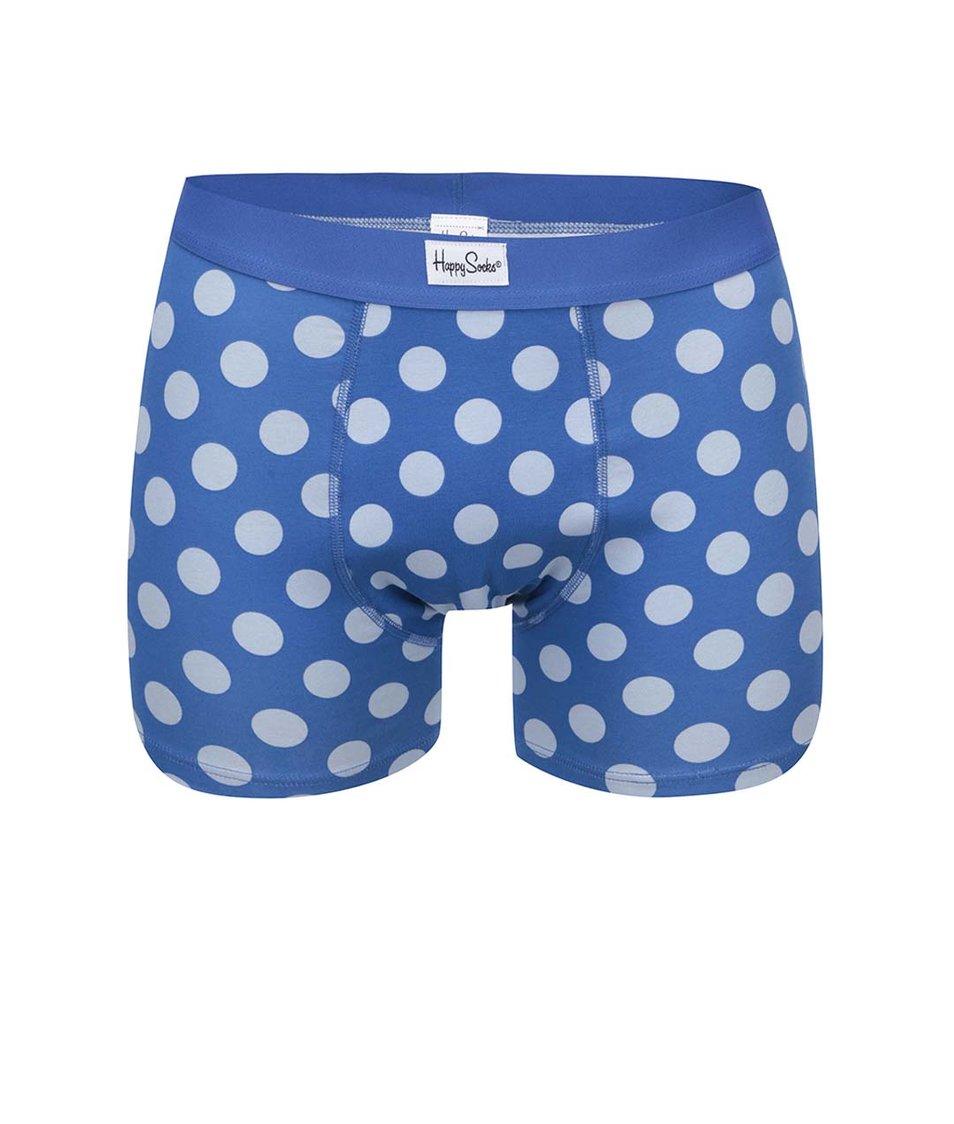 Modré pánské boxerky s puntíky Happy Socks