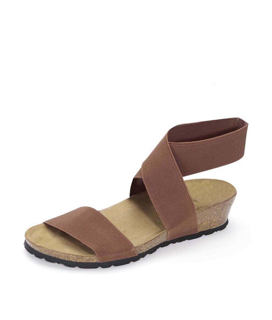 Hnědé sandálky s překříženým páskem OJJU