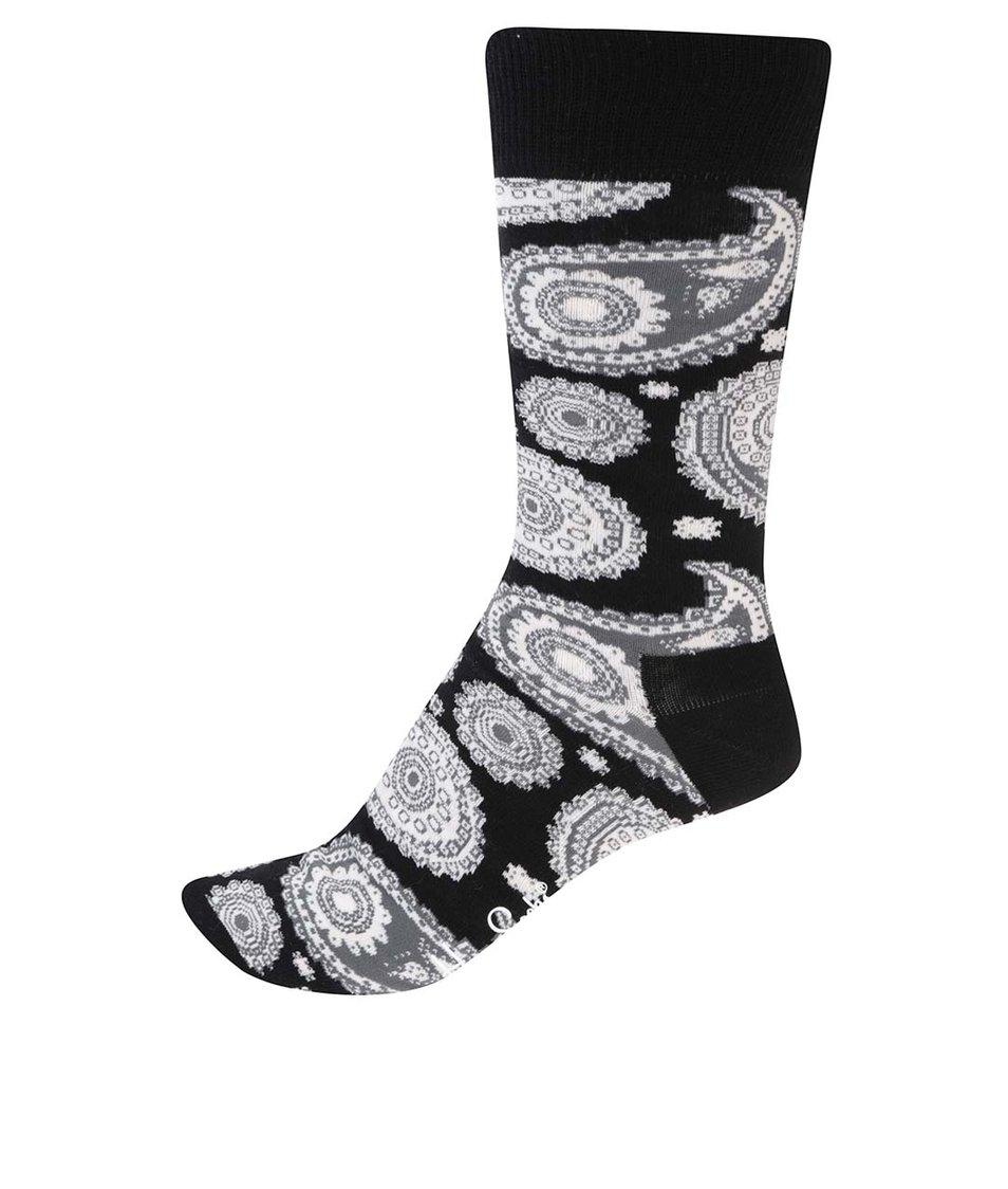 Bílo-černé pánské ponožky s kašmírovým vzorem Happy Socks Paisley