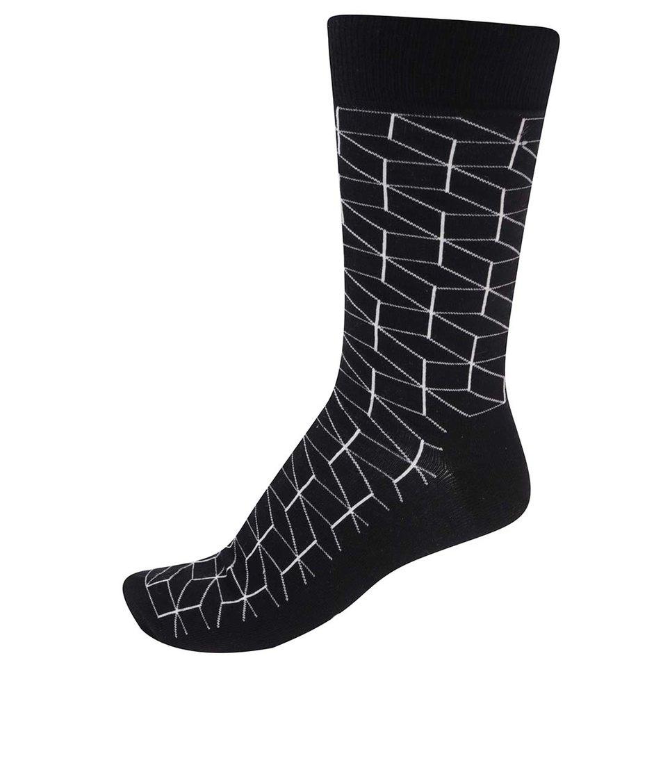 Černé pánské ponožky se vzorem Happy Socks