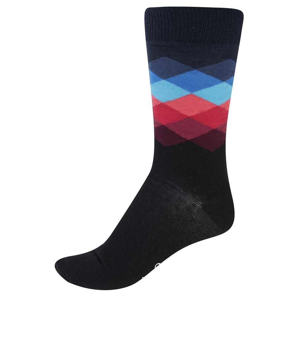 Černé pánské vzorované ponožky Happy Socks Faded Diamond