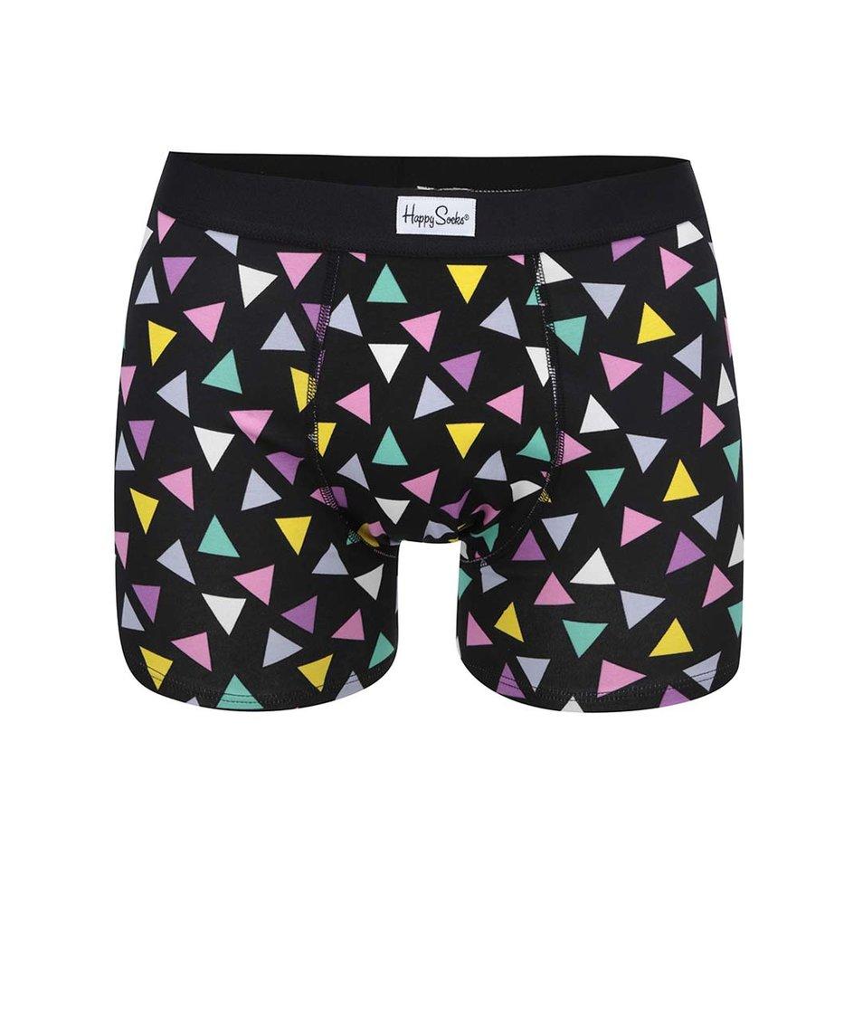 Černé pánské boxerky s barevnými trojúhelníky Happy Socks