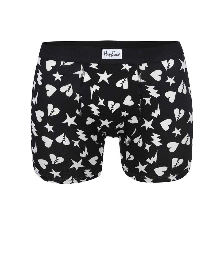 Černé pánské boxerky s bílými vzory Happy Socks