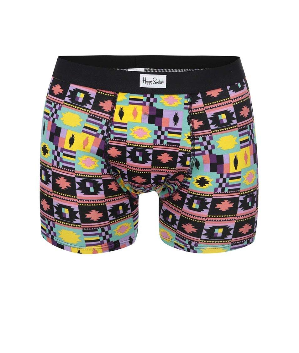 Barevné pánské vzorované boxerky Happy Socks