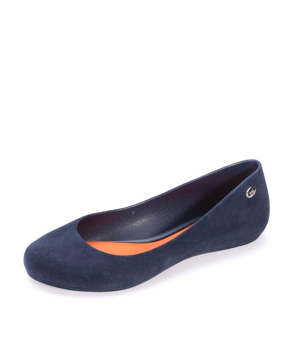 Oranžovo-modré semišové balerínky Mel Pop Flocked II