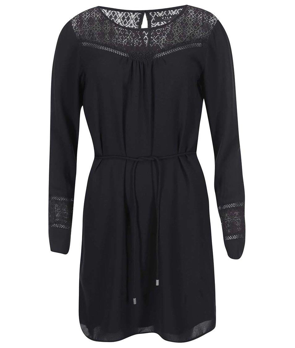 Černé šaty s dlouhým rukávem VILA Neck