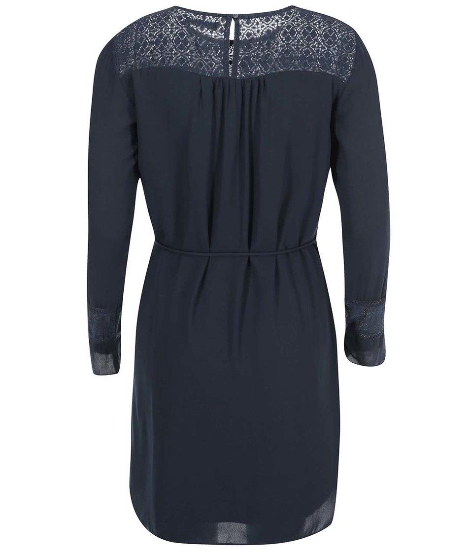 Tmavě modré šaty s dlouhým rukávem VILA Neck