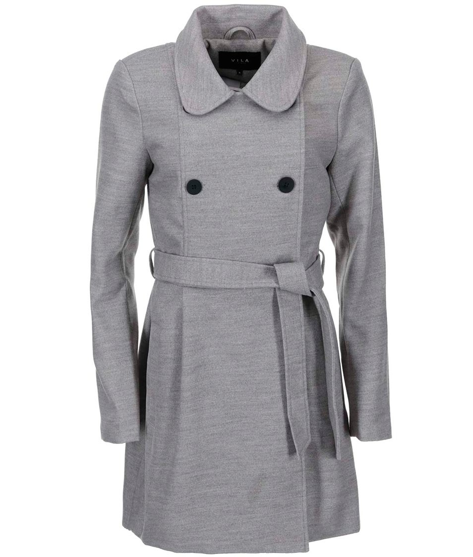 Šedý dlouhý kabát VILA Kimra