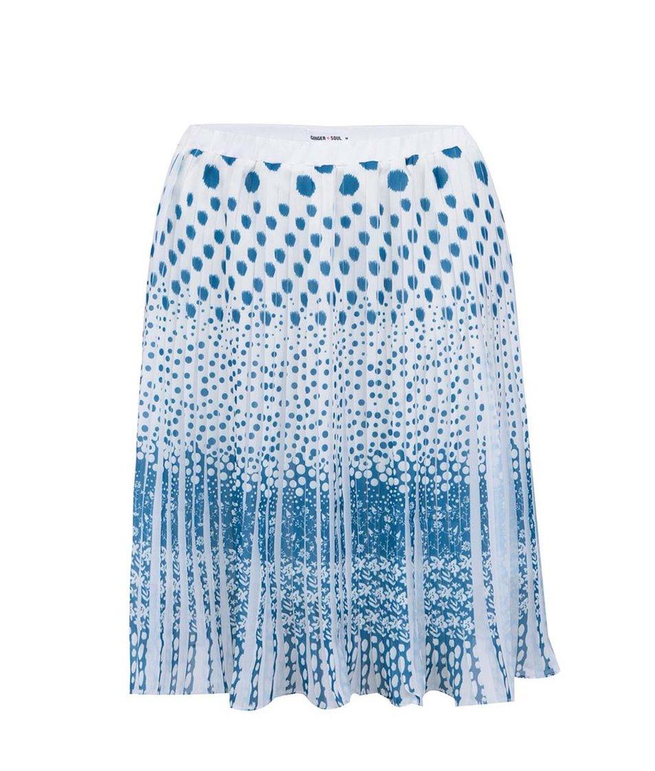 Tyrkysovo-bílá vzorovaná sukně GINGER+SOUL