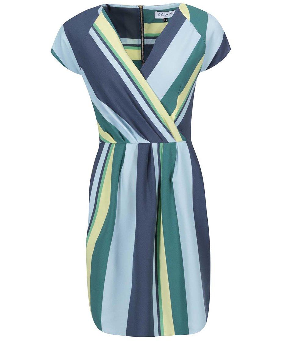 Barevné pruhované šaty s krátkými rukávy Closet