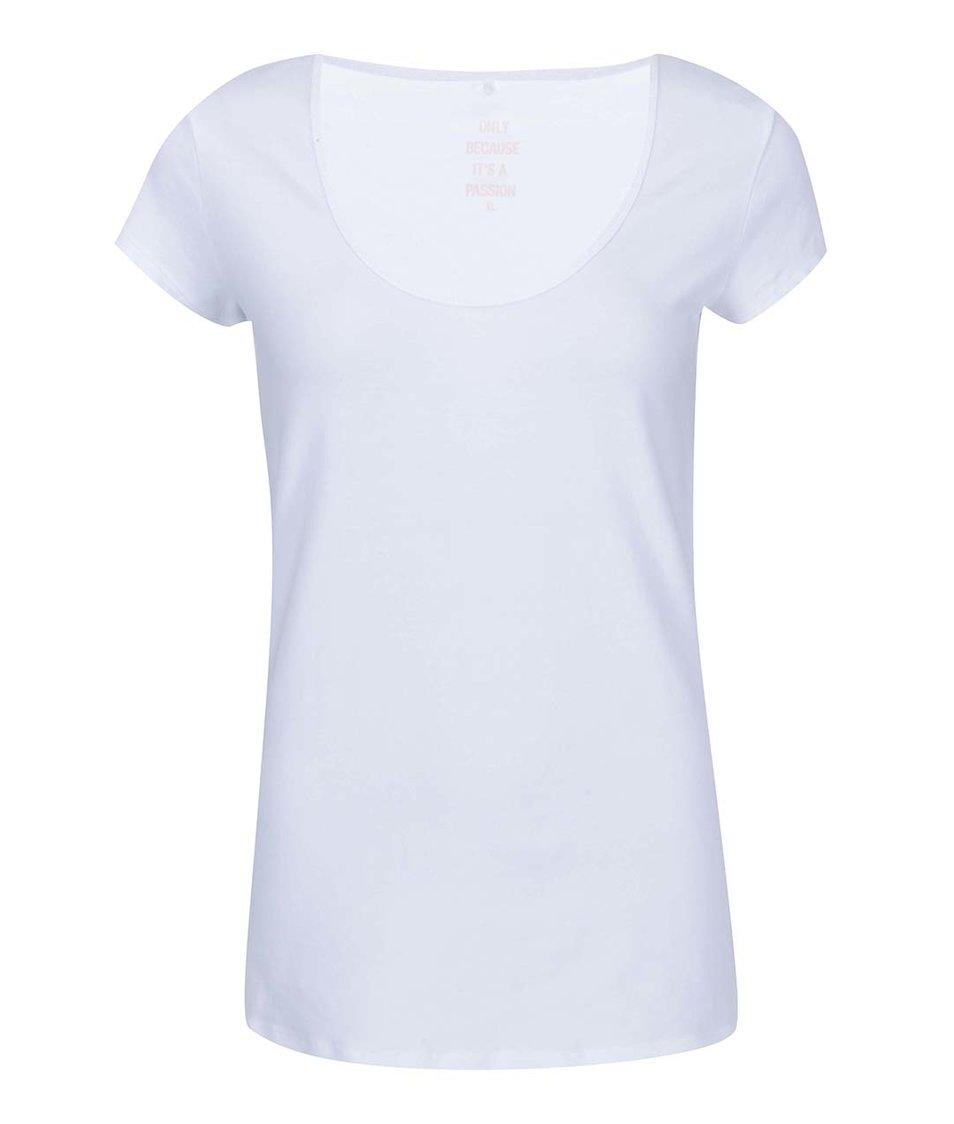 Bílé tričko s kulatým výstřihem ONLY Live Love
