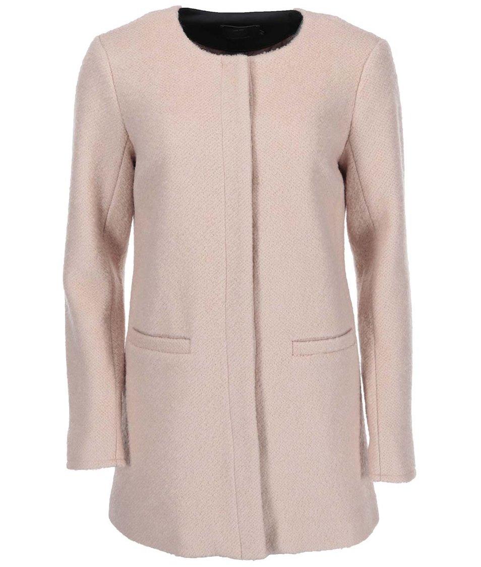 Světle růžový vlněný kabát ONLY Pier