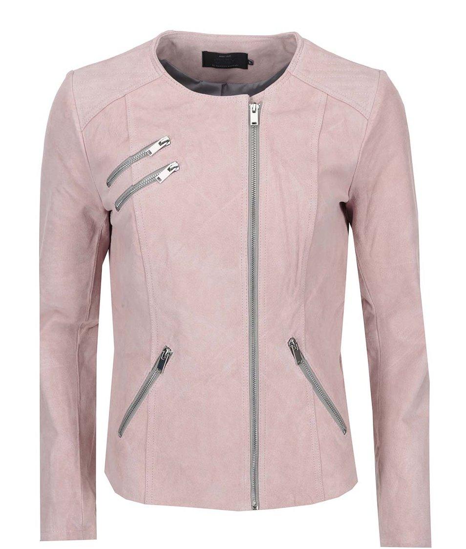 Světle růžová kožená bunda ONLY Allis