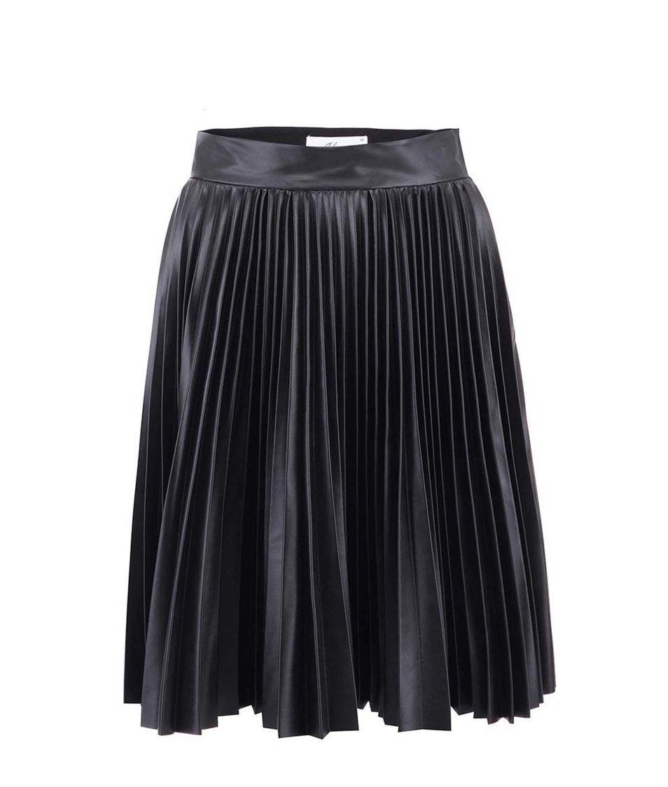 Černá plisovaná koženková sukně Closet