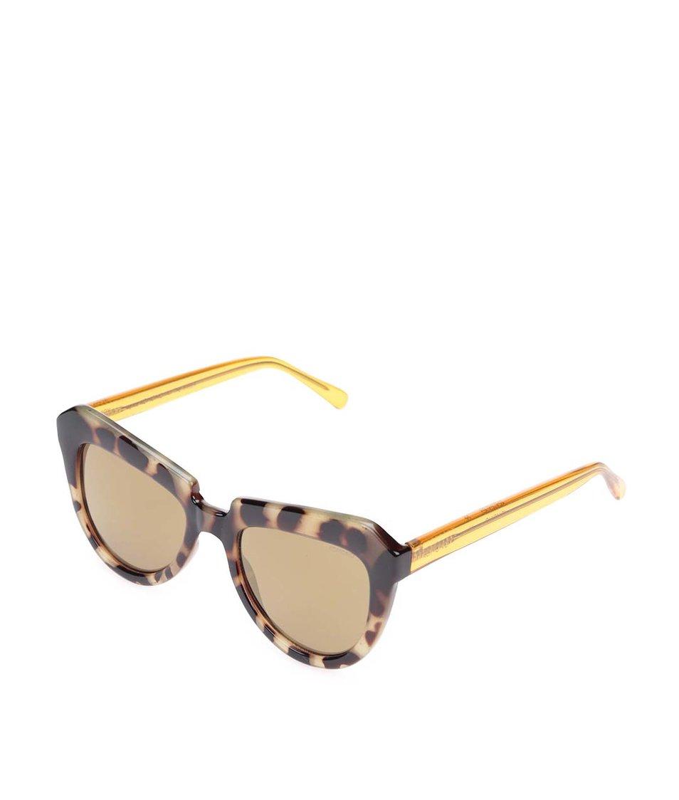 Světle hnědé dámské sluneční brýle s vzorovanými obroučkami Komono Stella