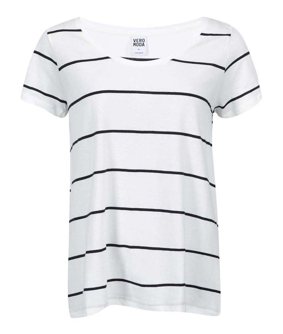 Bílé pruhované tričko Vero Moda Molly