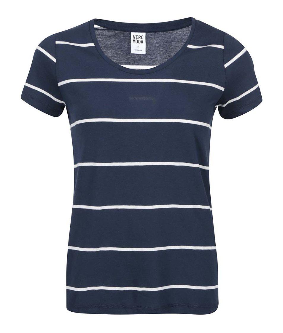 Tmavě modré pruhované tričko Vero Moda Molly