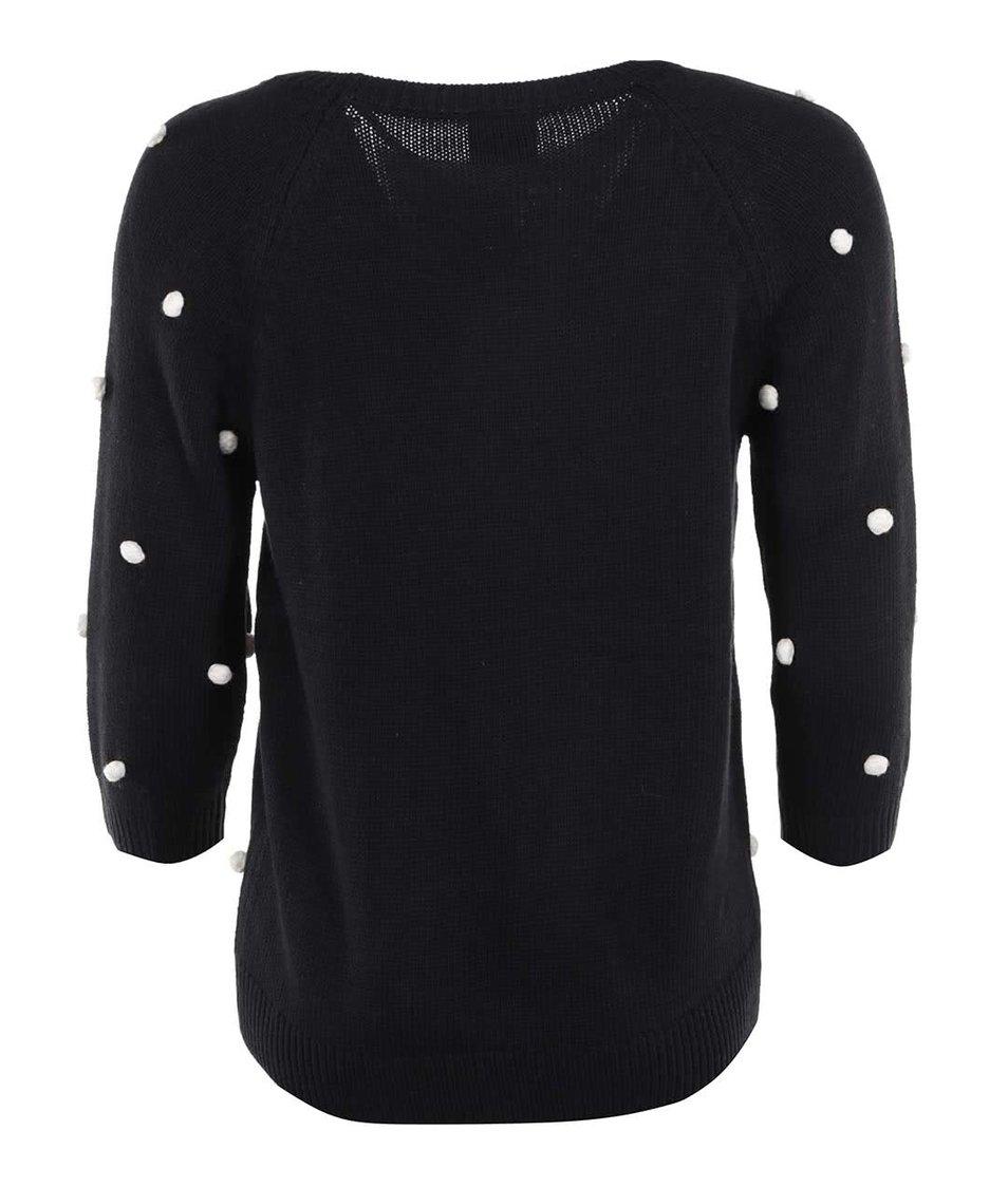 Černý svetr s našitými puntíky Vero Moda Vinna