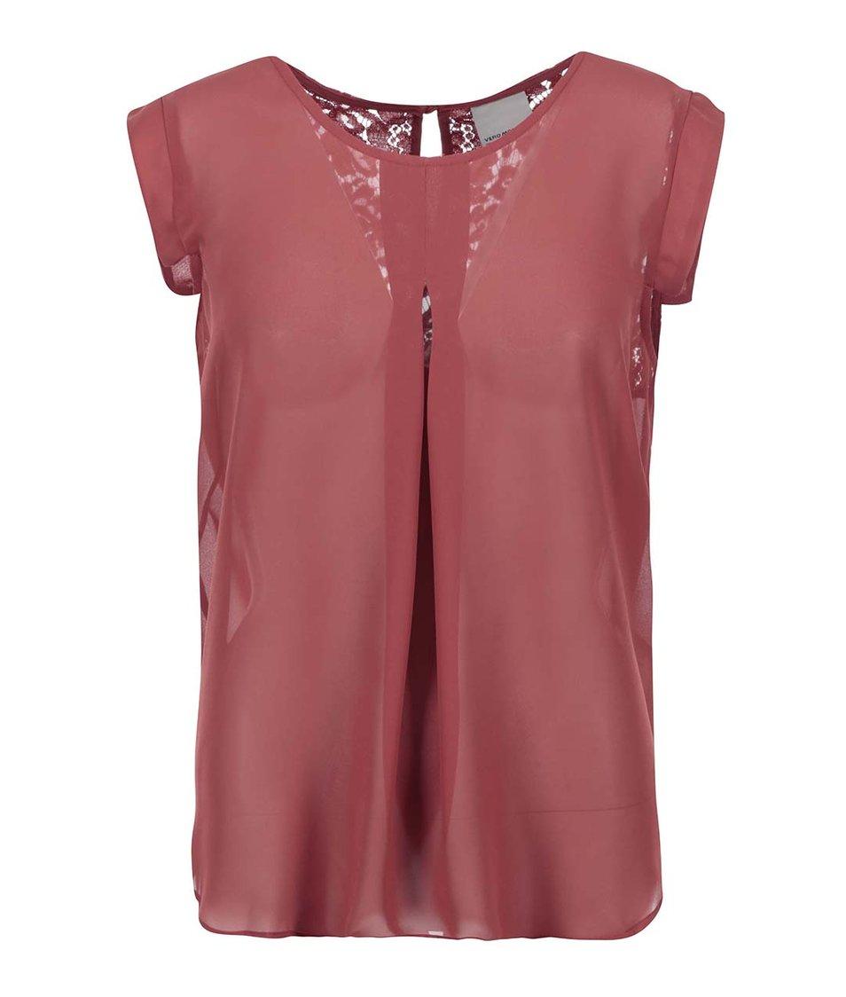 Červený průsvitný top s krajkovými detaily Vero Moda Juliane