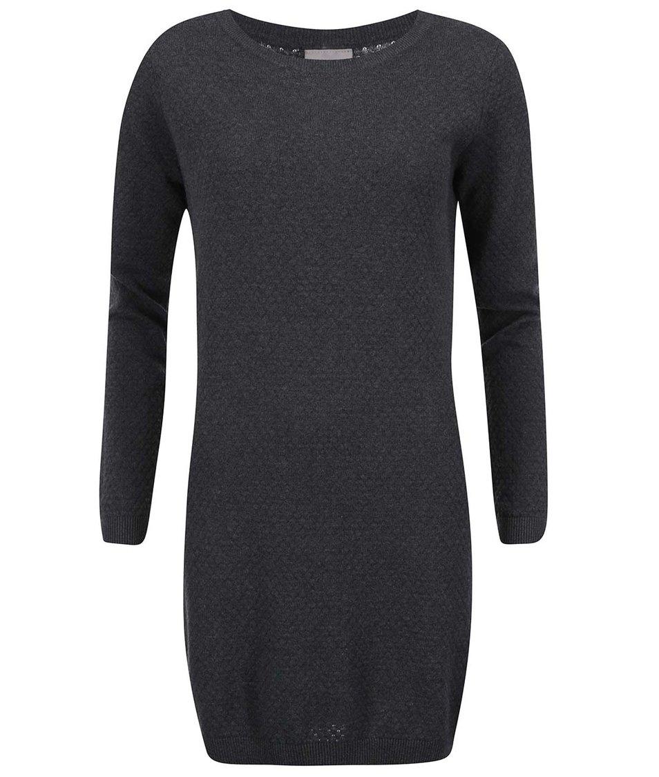 Tmavě šedé svetrové šaty Vero Moda Care