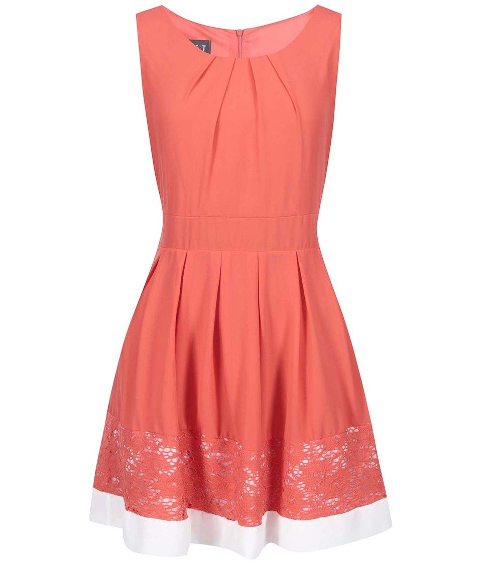 Korálové šaty s krajkou a bílým lemem Apricot