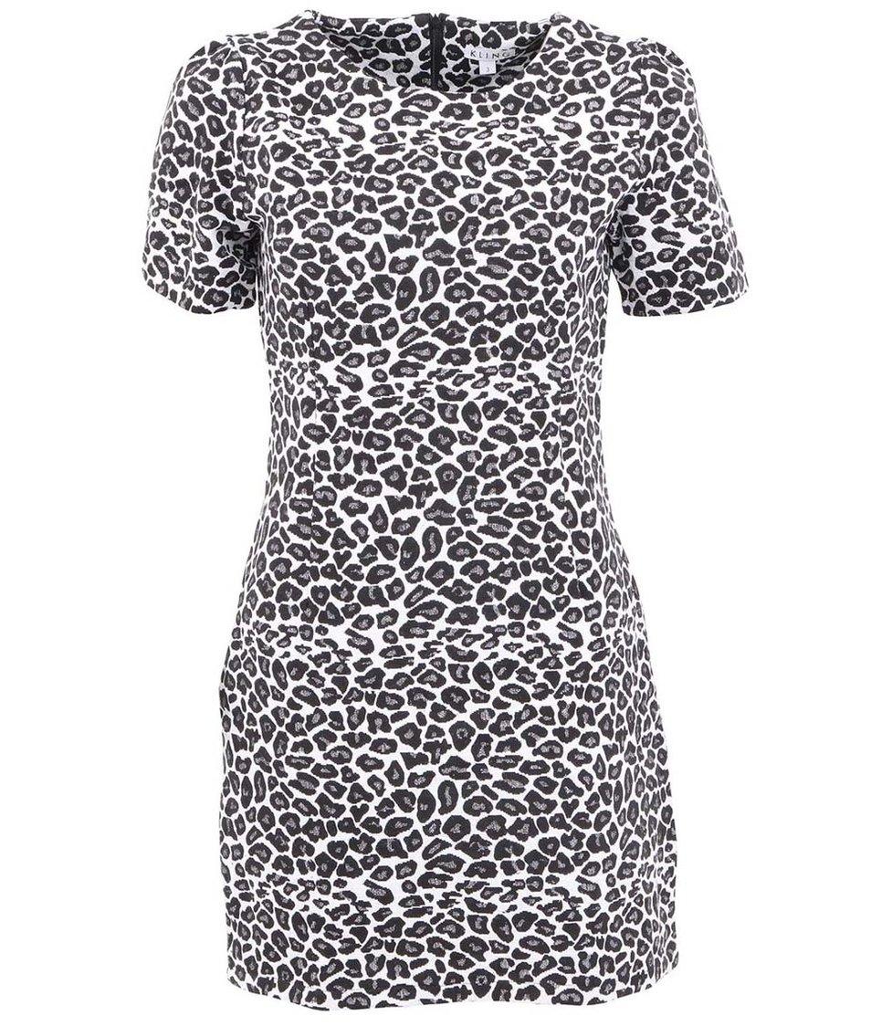 Černo-bílé šaty s leopardím vzorem Kling Van Gogh