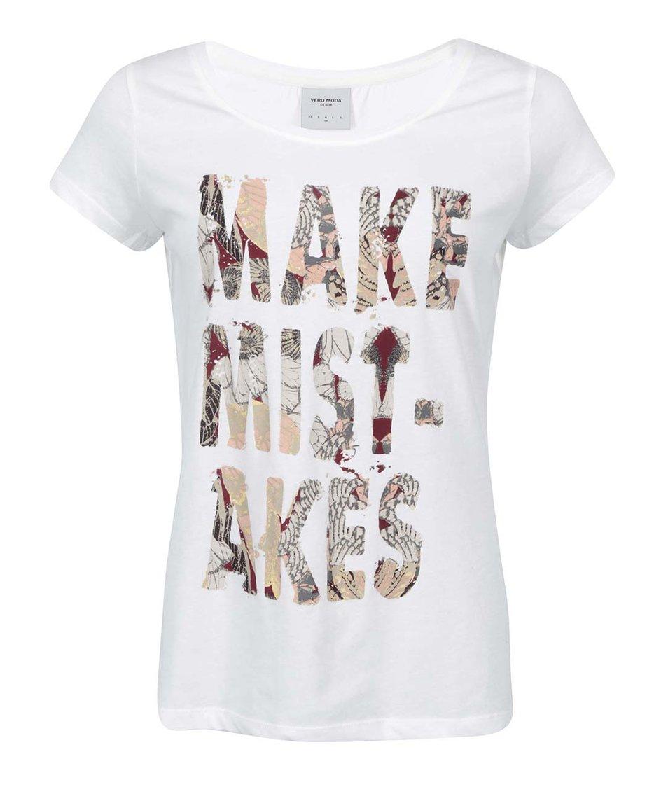 Bílé tričko s potiskem Vero Moda Dora
