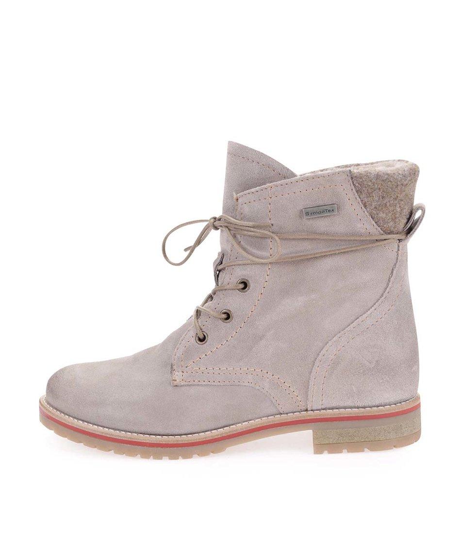 Béžové kotníkové boty na šněrování Tamaris