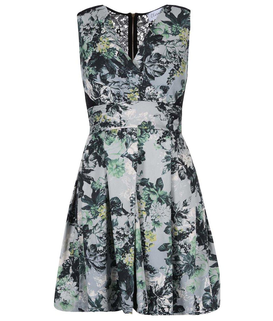 Šedé květované šaty s černou krajkou Closet