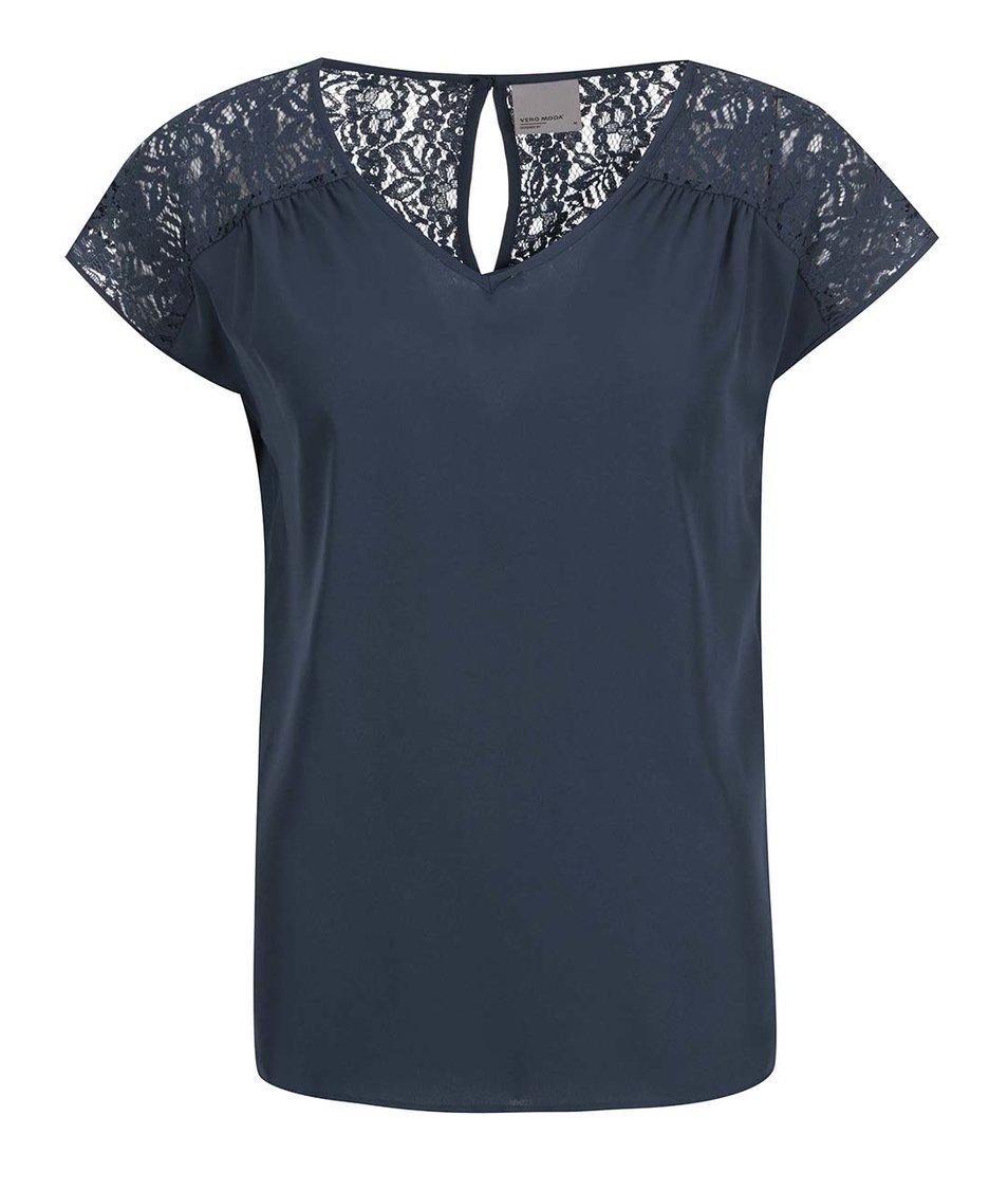 Tmavě modrý top s krajkou na zádech Vero Moda New Lazy