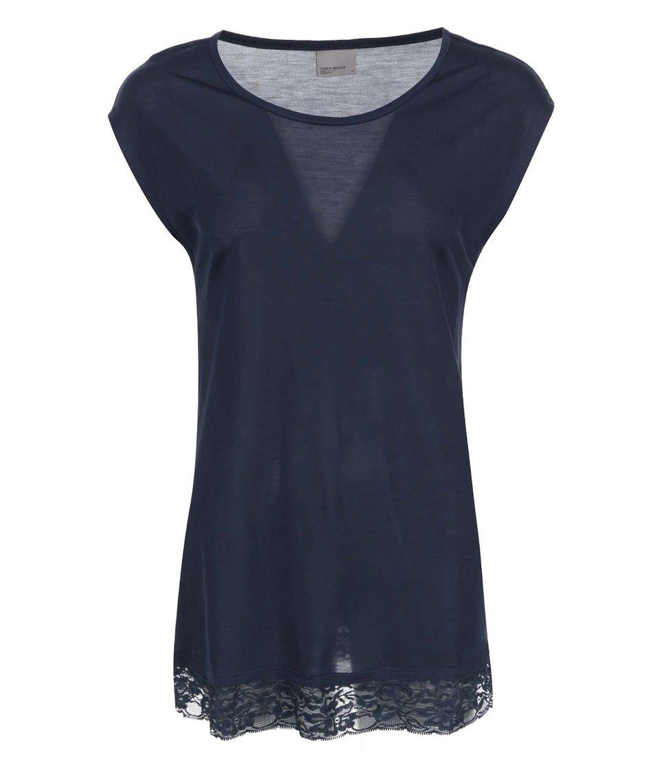 Tmavě modré volnější tričko s krajkou Vero Moda Eva