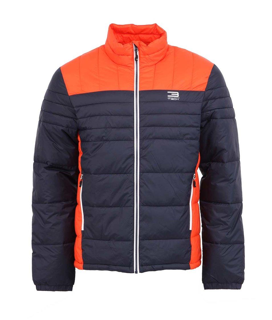Oranžovo-modrá prošívaná bunda Jack & Jones Frost